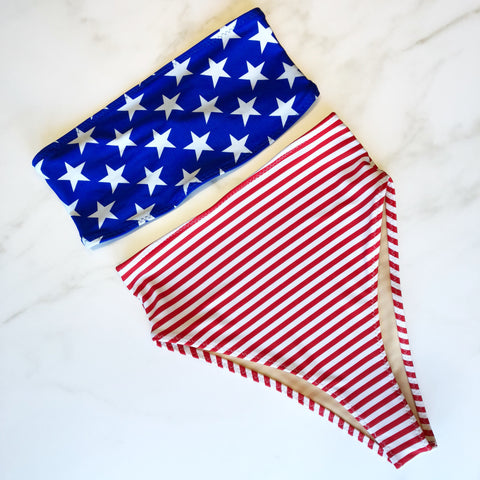 American flag high waist swimsuit