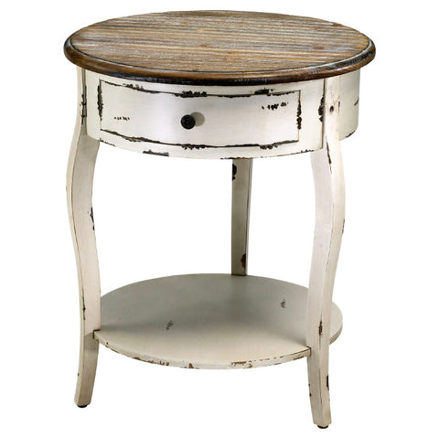 Abelard Distressed Round Accent Table - Innovations Designer Home Decor