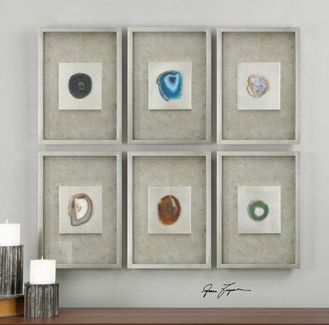 Agate Stone Silver Wall Art, Set of 6 - Innovations Designer Home Decor