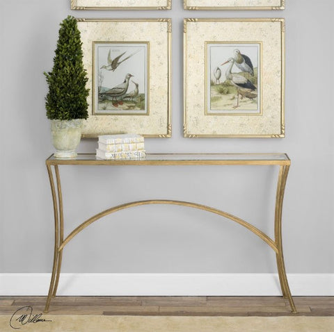 Alayna Antiqued Gold Leaf & Glass Console Table - Innovations Designer Home Decor