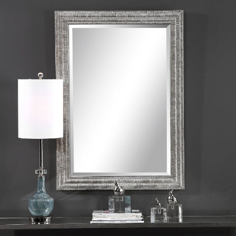 Alwin Transitional Silver Leaf Rectangular Wall Mirror - Innovations Designer Home Decor