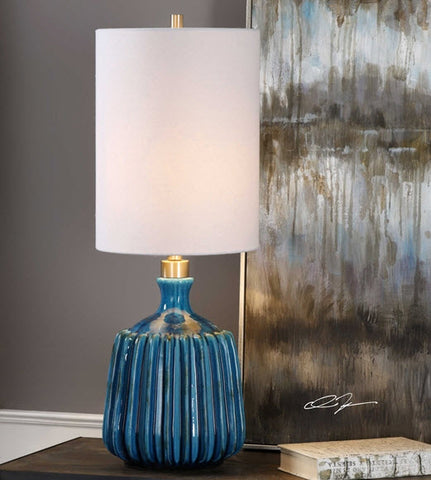 Amaris Cerulean Blue Ceramic Accent Lamp - Innovations Designer Home Decor