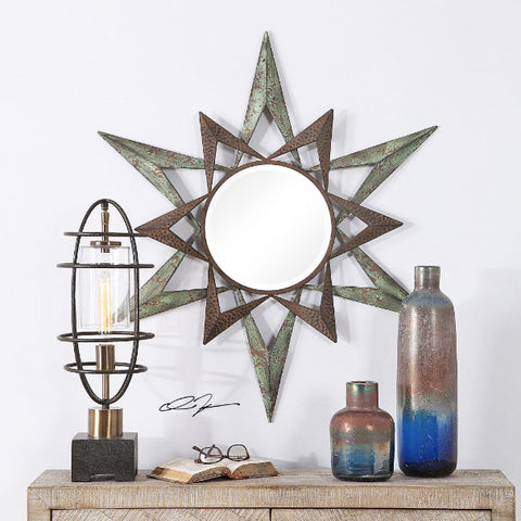 Amary Two Tone Textured Rust Starburst Wall Mirror - Innovations Designer Home Decor