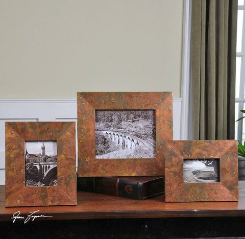 Ambrosia Copper Photo Frames, 3-Piece Set - Innovations Designer Home Decor