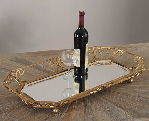 Amias Mirrored Gold Decorative Tray - Innovations Designer Home Decor