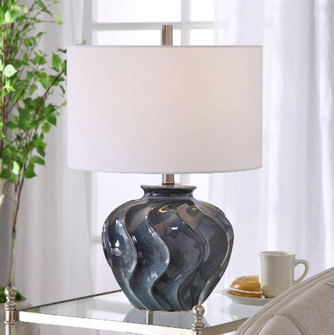 Aquilina Aged Ivory Blue Ceramic Table Lamp - Innovations Designer Home Decor