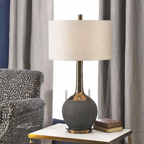 Arnav Textured Black and Golden Bronze Table Lamp - Innovations Designer Home Decor
