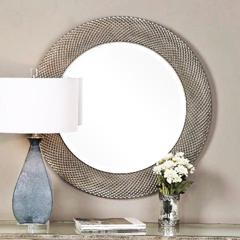 Aziza Distressed Silver Round Wall Mirror - Innovations Designer Home Decor