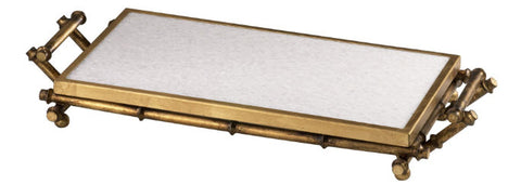 Bamboo Asian Distressed Gold & White Marble Serving Tray - Innovations Designer Home Decor