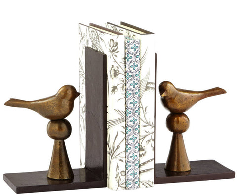 Birds and Books Antique Brass Bookends - Innovations Designer Home Decor