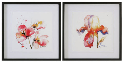 Blooms Hermanas Watercolor Prints, Set of 2 - Innovations Designer Home Decor