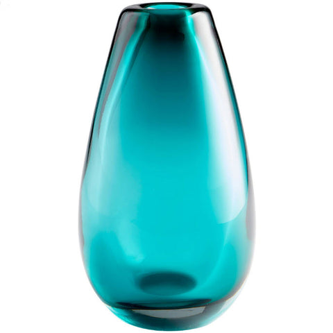 Blown Ocean Large Cerulean Blue Art Glass Vase - Innovations Designer Home Decor