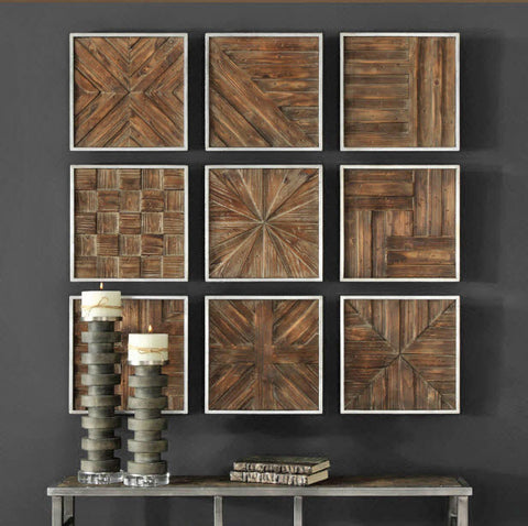 Bryndle Rustic Wooden Squares Wall Decor, Set of 9 - Innovations Designer Home Decor
