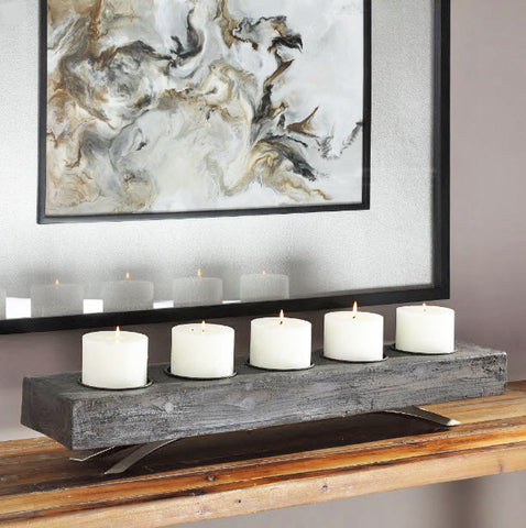 Callum Rustic Aged Black Wooden Candleholder - Innovations Designer Home Decor