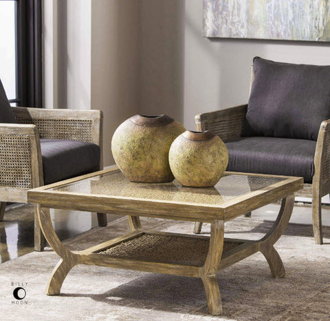 Cameron Weathered Oak, Water Hyacinth & Glass Square Coffee Table - Innovations Designer Home Decor