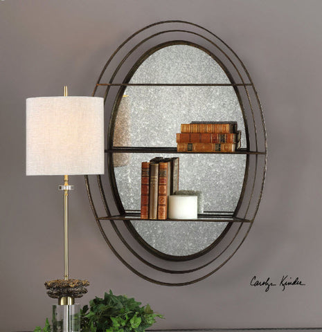 Carine Antique Mirrored Weathered Bronze Wall Shelf - Innovations Designer Home Decor