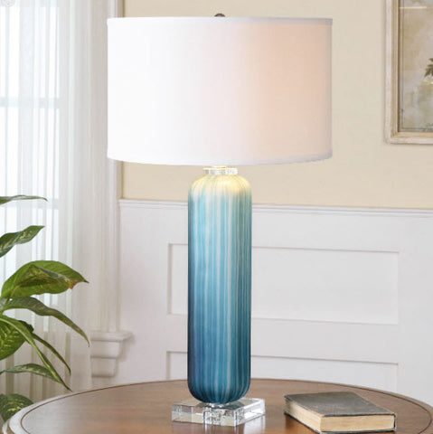 Caudina Frosted Blue Glass Table Lamp - Innovations Designer Home Decor