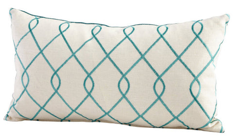 Chain Link White & Turquoise Throw Pillow - Innovations Designer Home Decor