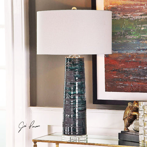 Chamila Distressed Aged Teal Table Lamp - Innovations Designer Home Decor