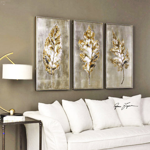 Champagne Leaves Modern Artwork, 3-Piece Set - Innovations Designer Home Decor