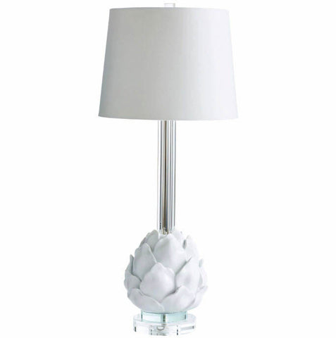 Chloe Contemporary White Glass Accent Lamp - Innovations Designer Home Decor
