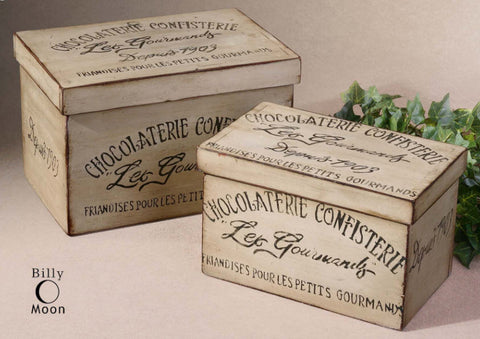 Chocolaterie Decorative Boxes, Set of 2 - Innovations Designer Home Decor