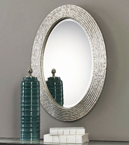 Conder Burnished Silver Oval Wall Mirror - Innovations Designer Home Decor