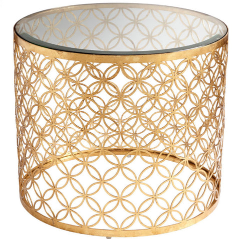 Dante Transitional Gold Round Accent Table - Innovations Designer Home Decor