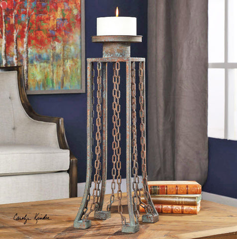 Danu Industrial Aged Iron Candleholder - Innovations Designer Home Decor