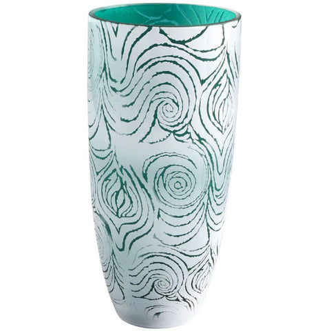 Destin Aquamarine & White Swirled Tall Art Glass Vase - Innovations Designer Home Decor