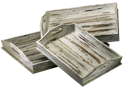 Distressed White Rectangular Nesting Trays - Innovations Designer Home Decor