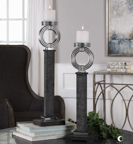 Docia Charcoal & Bright Silver Candleholders, Set of 2 - Innovations Designer Home Decor