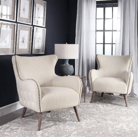 Donya Cream Linen Wingback Accent Chair - Innovations Designer Home Decor