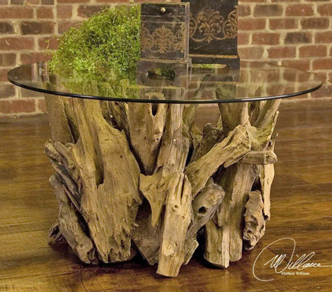 Driftwood Round Glass Top Cocktail Table - Innovations Designer Home Decor
