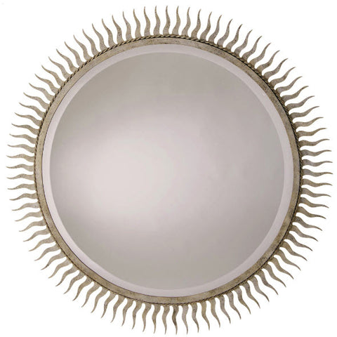 Eclipse Starburst Silver Leaf Large Round Wall Mirror - Innovations Designer Home Decor