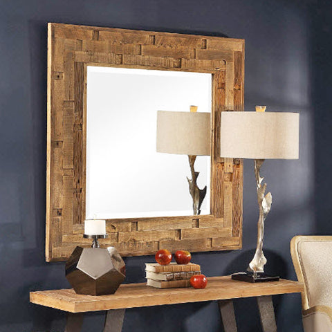 Emelin Rustic Distressed Reclaimed Wood Square Mirror - Innovations Designer Home Decor