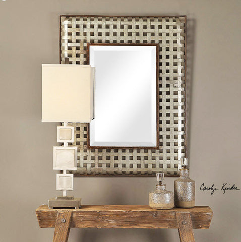 Fabelle Woven Galvanized Metal Wall Mirror - Innovations Designer Home Decor