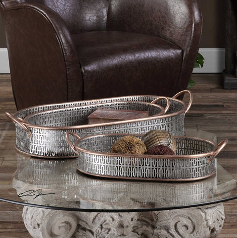 Fabiana Antiqued Silver Trays - Innovations Designer Home Decor