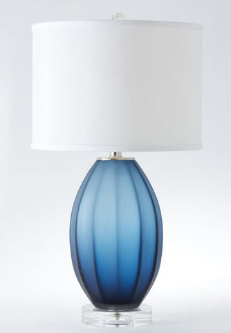 Fluted Frosted Blue Glass Accent Lamp - Innovations Designer Home Decor