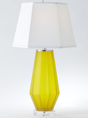 Fluted Urn Frosted Glass Contemporary Yellow Table Lamp - Innovations Designer Home Decor