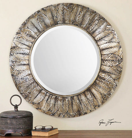 Foliage Round Silver Leaf Wall Mirror - Innovations Designer Home Decor