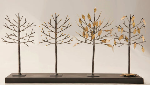 Four Seasons Tree Brass and Iron Tabletop Sculpture - Innovations Designer Home Decor