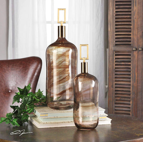 Ginevra Decorative Glass Bottles, Set of 2 - Innovations Designer Home Decor