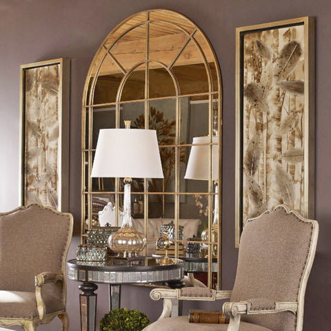Grantola Large Scale Arched Windowpane Mirror - Innovations Designer Home Decor