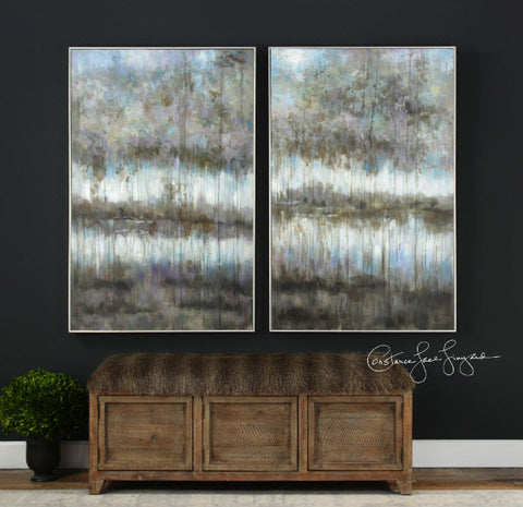 Gray Reflections Impressionistic Hand Painted Artwork, Set of 2 - Innovations Designer Home Decor