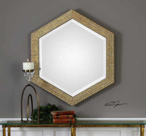 Hanisha Hexagonal Honeycomb Antiqued Gold Wall Mirror - Innovations Designer Home Decor