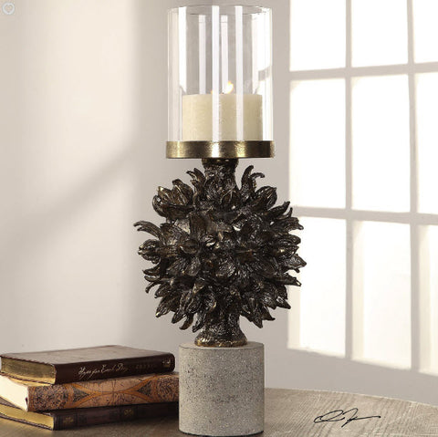 Hawaiian Autograph Tree Antique Bronze Candleholder - Innovations Designer Home Decor