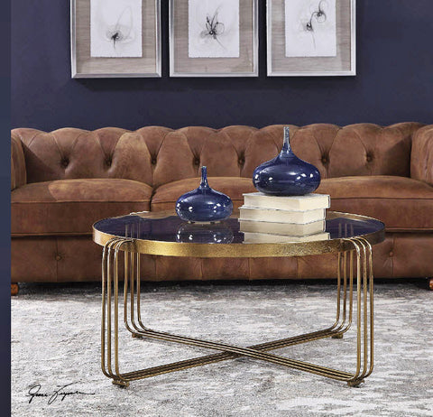Hilde Antique Gold Round Coffee Table - Innovations Designer Home Decor