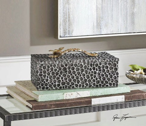 Hive Honeycomb Aged Black Decorative Box - Innovations Designer Home Decor
