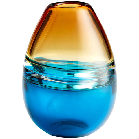 Jupiter Small Amber & Blue Art Glass Vase - Innovations Designer Home Decor